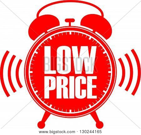 Low Price Red Alarm Clock, Vector Illustration