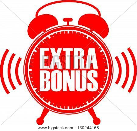 Extra Bonus Red Alarm Clock, Vector Illustration