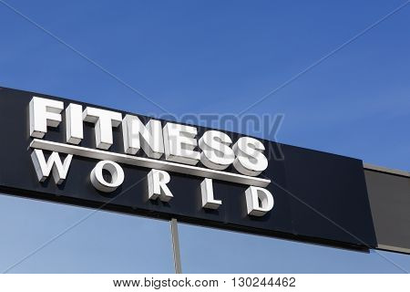 Aarhus, Denmark - May 1, 2016: Fitness World is a Danish fitness chain, consisting of 150 gyms across the country. This chain is the largest in Denmark and eighth largest in Europe.