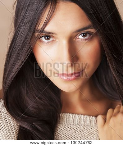 young pretty tanned girl close up portrait smiling confident brunette warm, lifestyle people concept