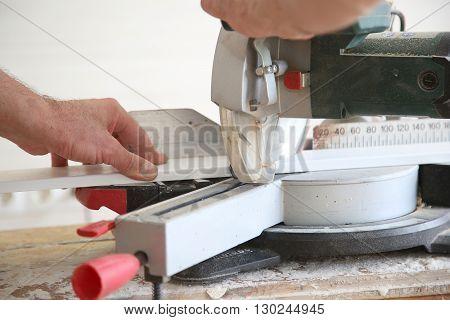Carpenter With Electro Circular Saw