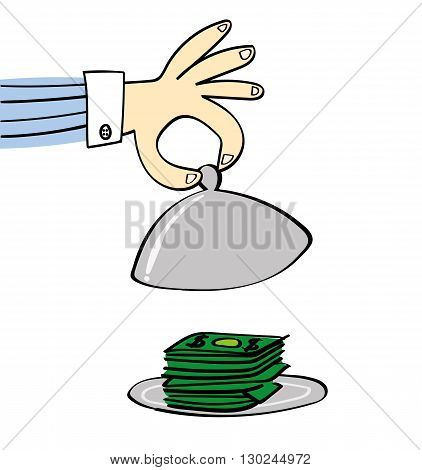 A hand lifts the dome lid of a silver food warmer to reveal a pile of cash on the plate beneath