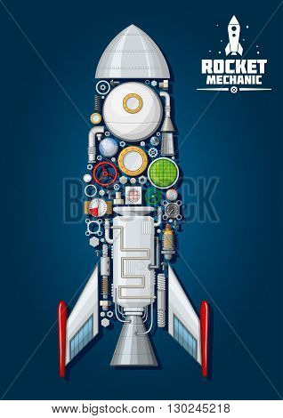 Rocket mechanics symbol of modern spaceship with detailed engine parts and  body structure such as nose cone, fins and access hatch, nozzle and portholes, combustion chamber and pumps, fuel tank and gears, colorful gauges and valve handwheels, radar and f