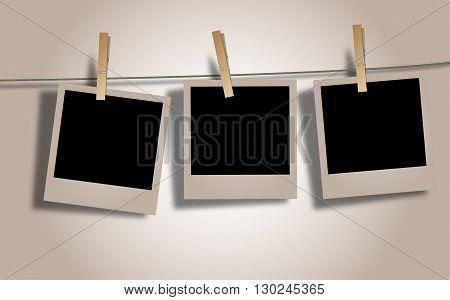 Photo Frames on Rope. Illustration on white background.