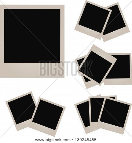 Retro photo frame isolated on white background. illustration.