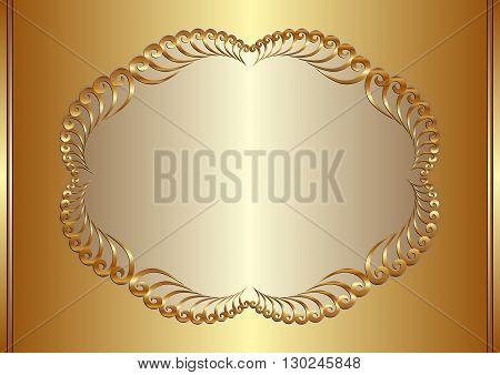 golden background with decorative frame - vector illustration