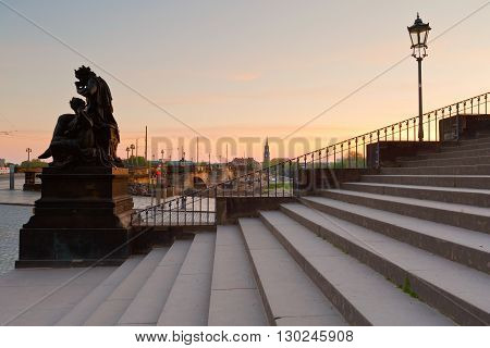 View of a bridge and a church in Dresden, Germany.