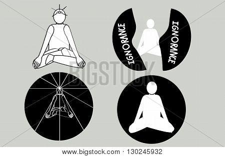 Yoga meditation of people shape 4 icons set vector