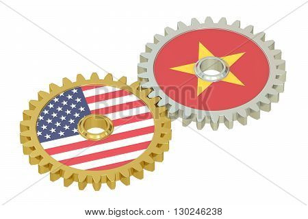 Vietnam and USA relations 3D rendering isolated on white background