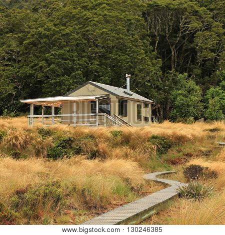 Public back country hut in the Fjordland National Park New Zealand. Green Lake tramping route.