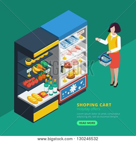 Isometric supermarket interior with shelving fridge and purchaser with shopping basket  beside vector illustration