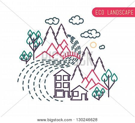 Thin Line Landscape Flat Landscape Eco Landscape Design Of Abstract Idyllic Village On Hills, Rural