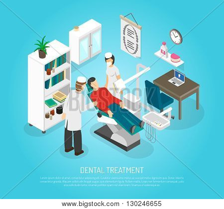Medical oral treatment in dentist clinic  with patient in the chair and assistant isometric abstract vector illustration