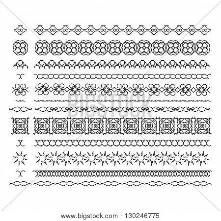 Vector lines border divides set. Universal elements seamless lines for your design