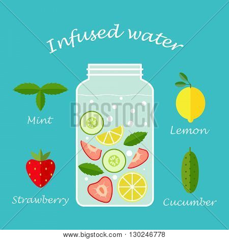 Glasses of infused water of fresh fruit for health illustrate vector