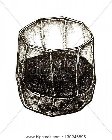 glass of whiskey vintage illustration, retro style, hand drawn, sketch