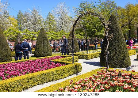KEUKENHOF, NETHERLANDS - MAY 5, 2016: Tourists and colored tulips in spring in the Keukenhof Park, Holland, Netherlands. It is a popular flower garden which is visited by a million tourists from all around the world every year.