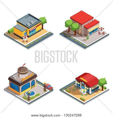 Colorful cafe restaurant pizzeria 3d isometric icons set on white background isolated vector illustration