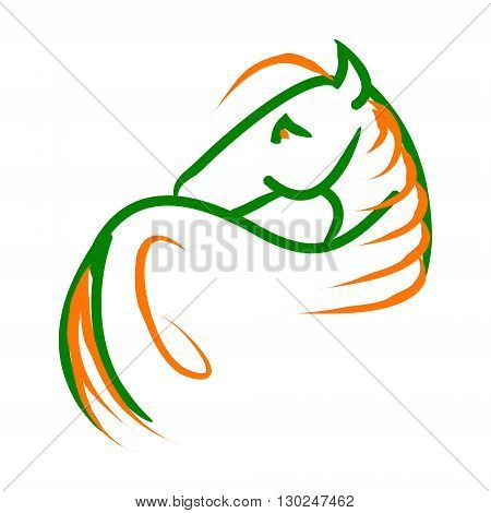 Symbolic image of a horse with a long mane. Abstraction on a white background vector. The pattern of lines in the form of a horse.