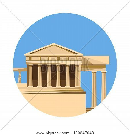 Greek parthenon icon isolated on white background. Vector illustration for famous ancient building design. Travel greece postcard. Classic stone landmark symbol. Touristic religion historical temple