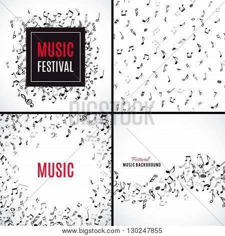 Abstract musical patterns with black notes on white background. Set vector Illustration for music design. Modern pop  collection concept art melody banner. Sound key decoration with music symbol sign.