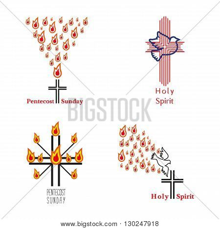 Set of church logo. Holy spirit. Holy cross. Church sacrament symbol. Pentecost Sunday. Biblical tongues of fire, holy spirit dove. Religious logo. Vector illustration.