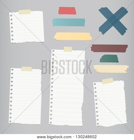 Ripped lined blank note paper, colorful sticky, adhesive tapes are stuck on squared gray wall.