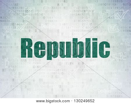 Politics concept: Painted green text Republic on Digital Data Paper background with  Scheme Of Hand Drawn Politics Icons