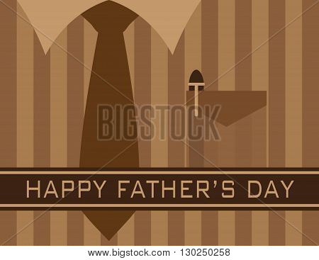 Happy Father's Day Text with Tie Shirt Pocket Pen on Brown Stripes Pattern Background Illustration
