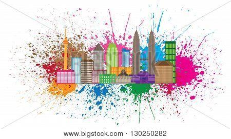 Kuala Lumpur Malaysia City Skyline Color Paint Splash Splatter Isolated on White Background Illustration
