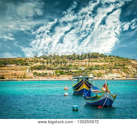 fishing boats near fishing village of Marsaxlokk (Marsascala) in Malta