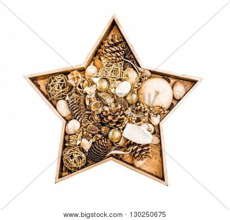 Golgen Christmas Star with toys isolated on a white background