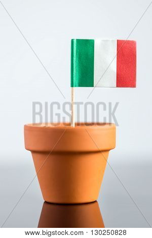 Plant Pot With Italian Flag