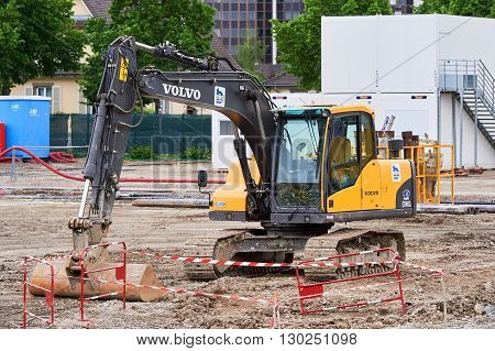 STRASBOURG FRANCE - MAY 15 2016: Front view of VOLVO excavator in construction area