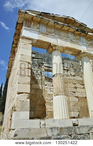 Building of Treasury of Athens in Ancient Greek archaeological site of Delphi,Central Greece