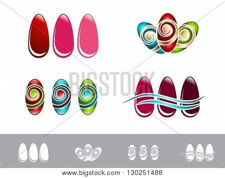 Illustration Nail Design Set Over White Background