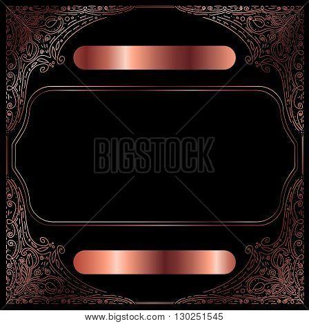 Сopper Vintage Decorative Frame With Copyspace Over Black Background