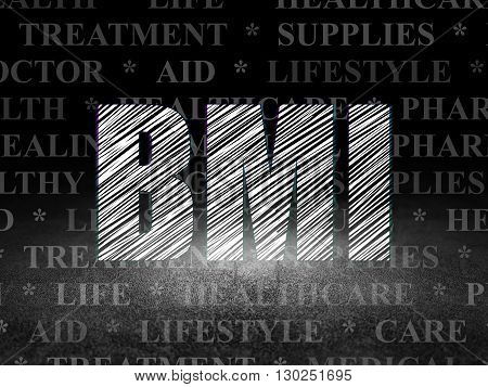 Health concept: Glowing text BMI in grunge dark room with Dirty Floor, black background with  Tag Cloud