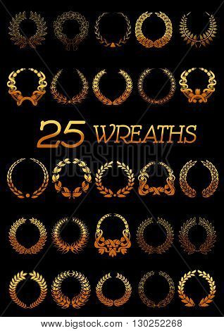 Winner golden wreaths icons with shining floral frames made up of laurel and oak trees branches, flowers and wheat ears tied with ribbons and bows. Use as heraldic symbol or victory celebration design