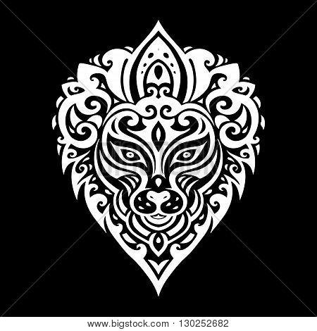 Lions head Tribal pattern. Polynesian tattoo style. Vector illustration.