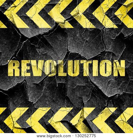 revolution, black and yellow rough hazard stripes
