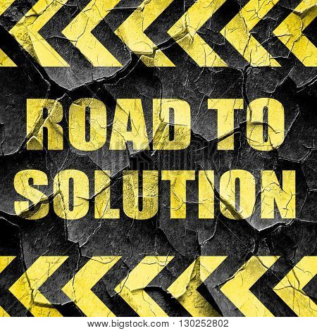 road to solution, black and yellow rough hazard stripes