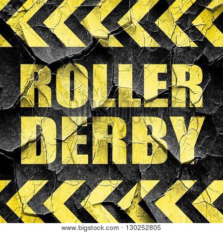 roller derby, black and yellow rough hazard stripes