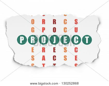 Finance concept: Painted green word Project in solving Crossword Puzzle on Torn Paper background