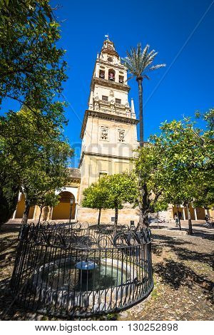 Cordoba Spain-March 11 2015: The bell tower at the Mezquita mosque & cathedral in Cordoba Spain