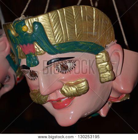 SAN ANTONIO DE PALOPO GUATEMALA APRIL 29 2016: Guatemalan fiesta Mask in traditional dance costume Guatemala Dance of the Conqueror Central America
