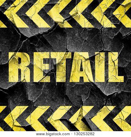 retail, black and yellow rough hazard stripes