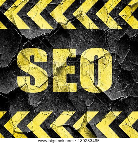 Search engine optimalization, black and yellow rough hazard stri