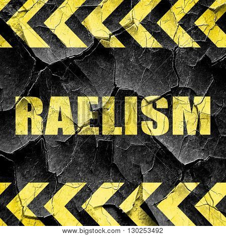 raelism, black and yellow rough hazard stripes