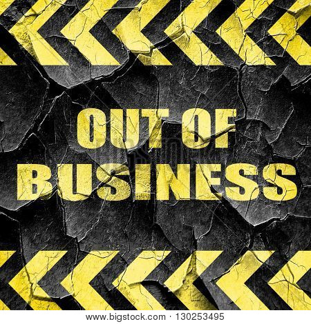 Out of business background, black and yellow rough hazard stripe